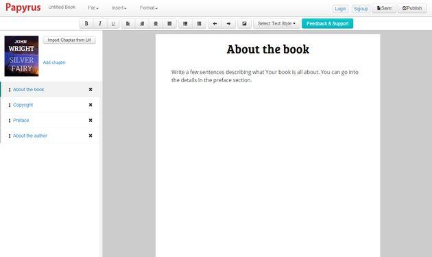 Papyrus Editor, una plataforma online para escribir y publicar tus propios eBooks