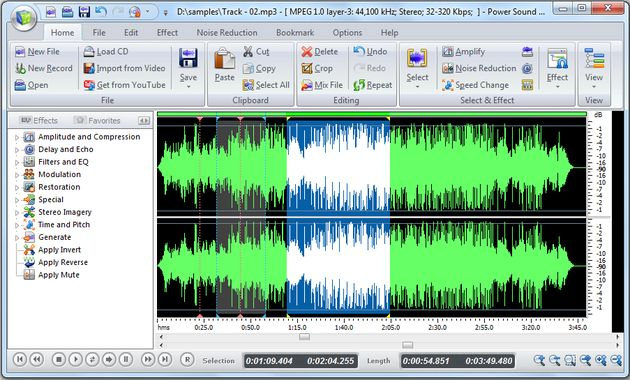 Power Sound Editor Free, poderoso grabador y editor de audio para Windows