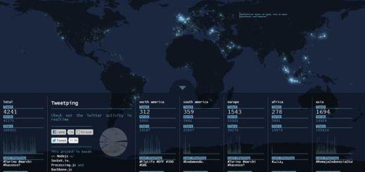 Tweet ping, un curioso mapa que muestra la actividad mundial de Twitter a tiempo real