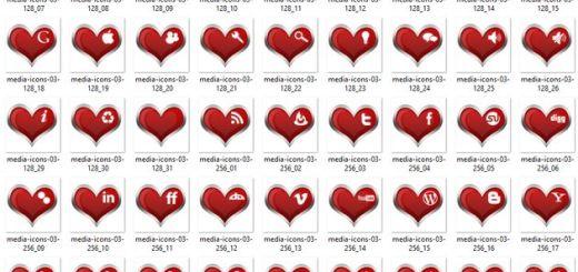 Pack gratuito de 30 bellos iconos sociales con forma de corazón en distintos formatos y tamaños