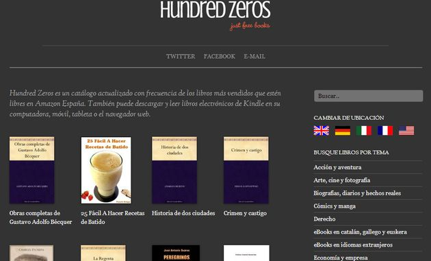 Hundred Zeros, un buscador de libros gratis en Amazon España