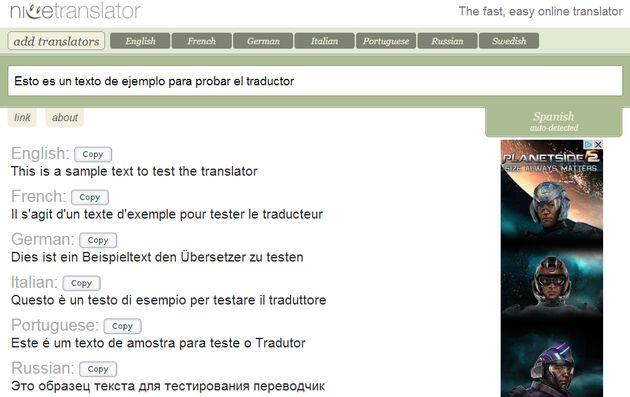Nice Translator, traduce online cualquier texto hasta a siete idiomas diferentes simultáneamente