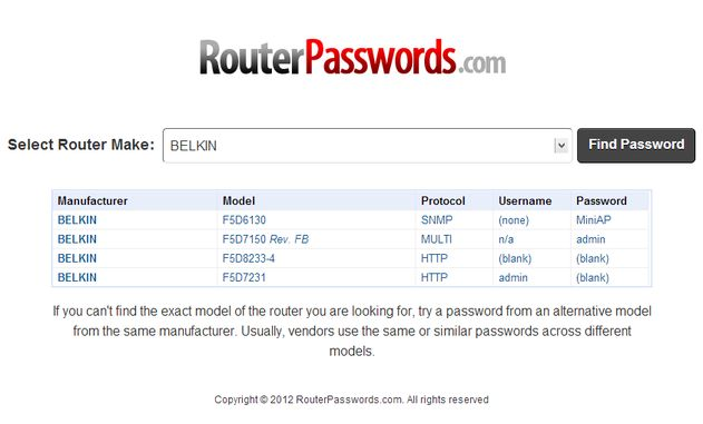 RouterPasswords RouterPasswords, busca el usuario y contraseña por defecto para configurar todo tipo de routers