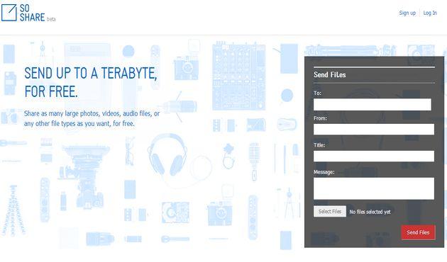 SoShare, servicio gratuito para enviar archivos de hasta 1 Terabyte