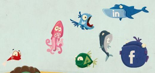 Social Fish, un original set de iconos sociales con forma de animales marinos