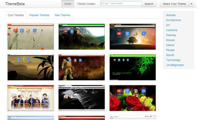 Theme Beta, una gran colección de temas gratuitos para Chrome y opción para crearlos tu mismo