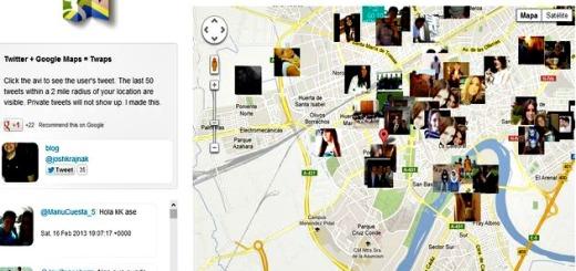 Twaps, una app online para ver tweets geolocalizados sobre Google Maps