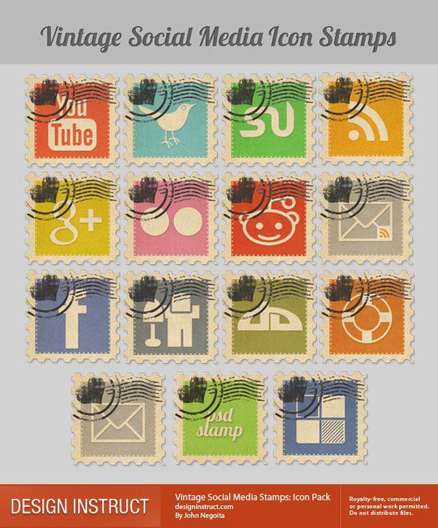 Vintage Social Media Stamps, bello pack de iconos sociales con forma de sello y estilo vintage