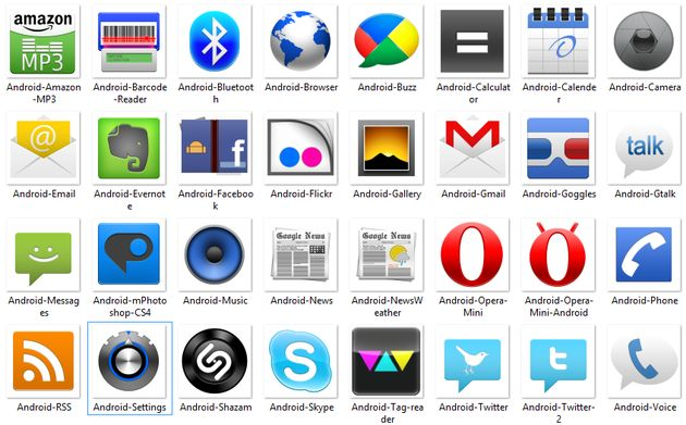 Android Icons, pack gratuito con 51 iconos de apps Android