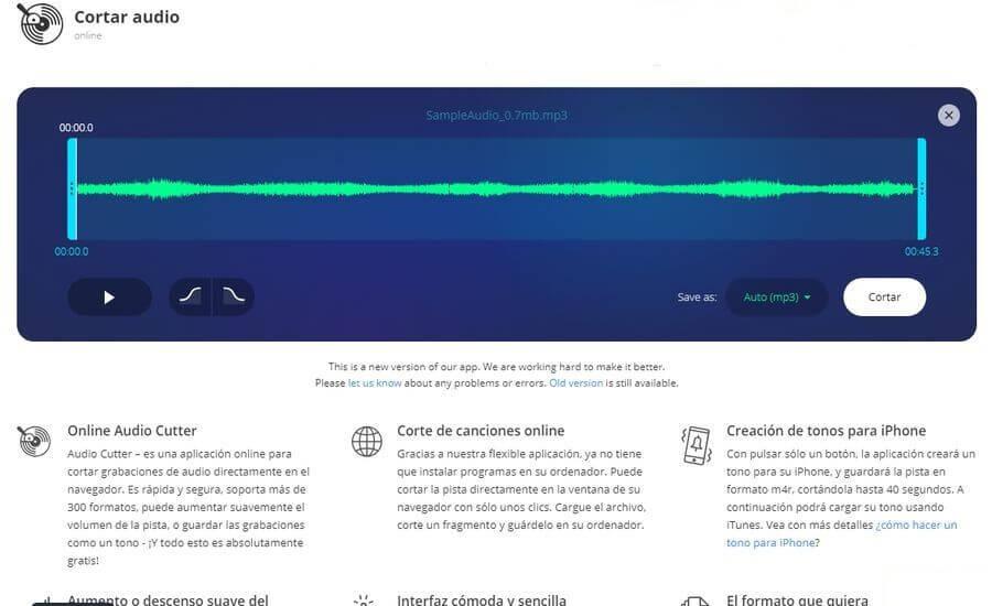 MP3cut: una práctica utilidad web gratuita para cortar audios