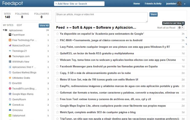Feedspot Feedspot, otra alternativa más para sustituir a Google Reader