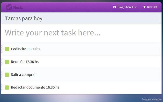Flask, una forma rápida de crear y compartir listas de tareas