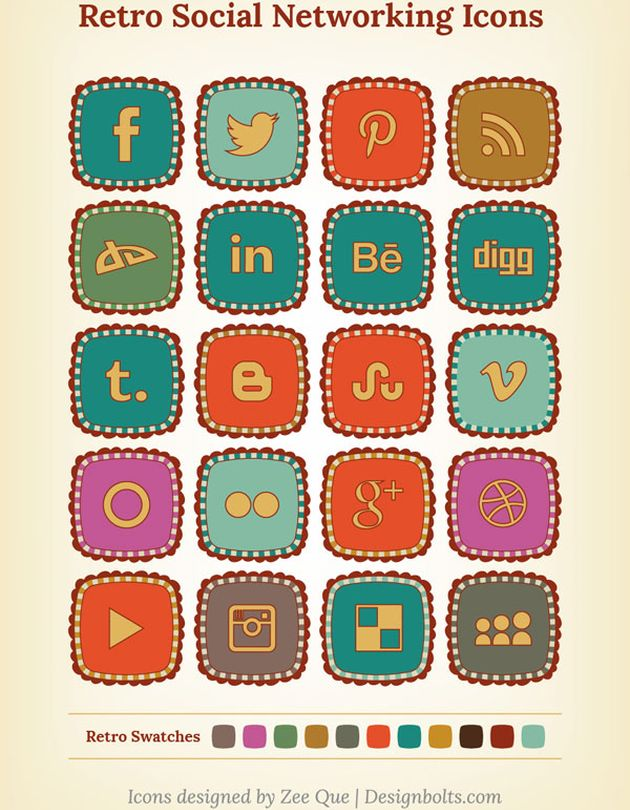 Free Retro Social Networking Icons Free Retro Social Networking Icons, un pack gratuito de bonitos iconos sociales con estilo retro