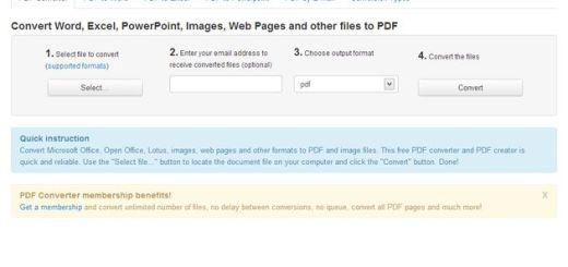 FreePDFConvert, utilidad web para convertir documentos a PDF o imagen