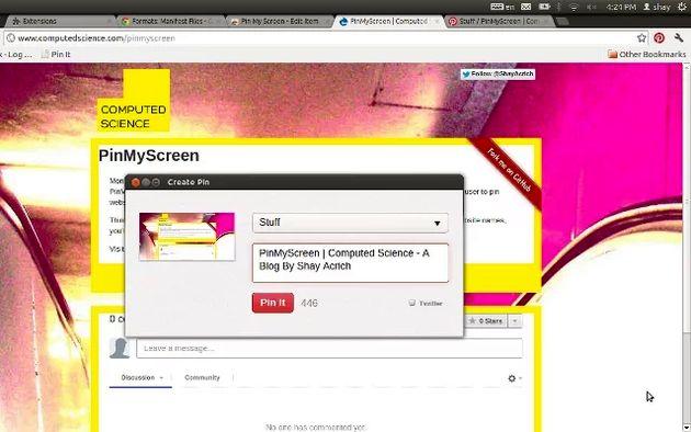 Pin My Screen, toma un screenshot de cualquier página y publícalo en Pinterest con esta extensión para Chrome