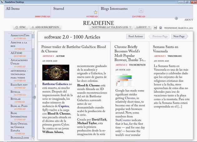 Readefine Cinco excelentes alternativas a Google Reader