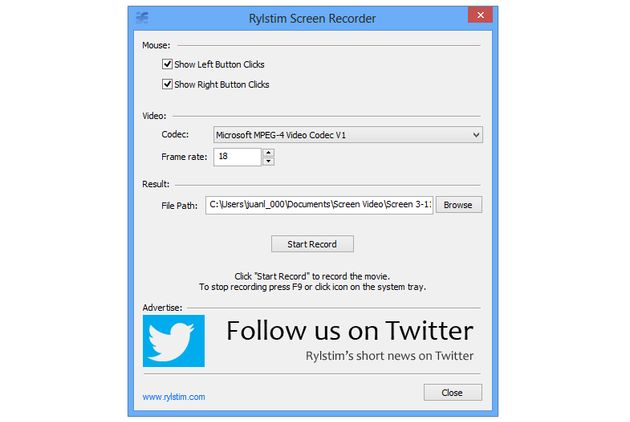 Rylstim Screen Recorder Rylstim Screen Recorder, graba screencasts de tu Escritorio con este liviano software para Windows