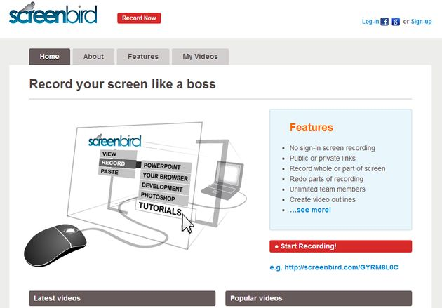 Screenbird Screenbird: herramienta online para grabar screencasts, publicar los vídeos y compartirlos