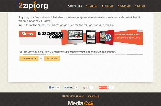 2zip, utilidad web para descomprimir archivos y convertir entre distintos formatos de compresión