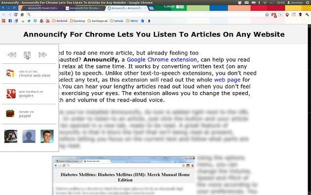 Announcify, una extensión para Chrome que te lee cualquier texto que señales