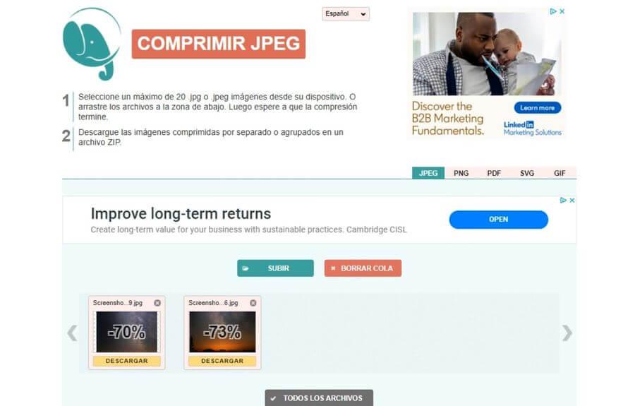 Compress JPEG: comprime y optimiza para la web tus imágenes JPG