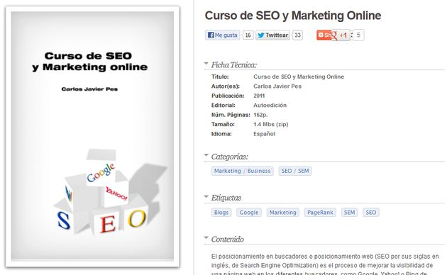Curso de SEO y Marketing Online Curso de SEO y Marketing Online, libro digital gratuito para aprender a posicionar nuestros sitios