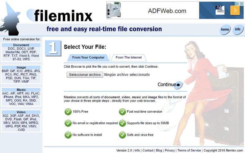 Fileminx: convertidor online y gratuito para múltiples formatos de archivo