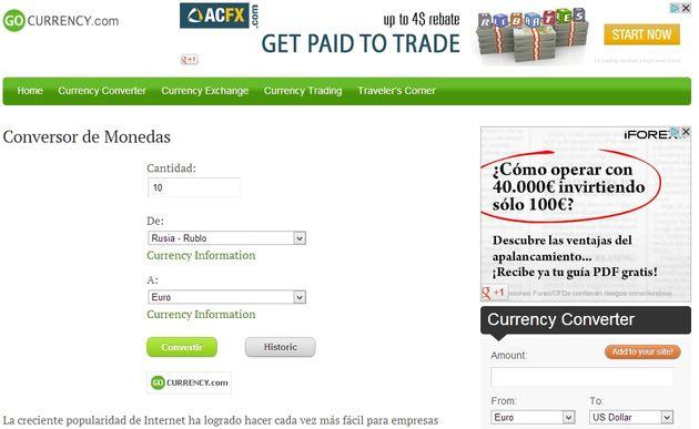 GoCurrency, utilidad web gratuita para convertir entre diversas monedas