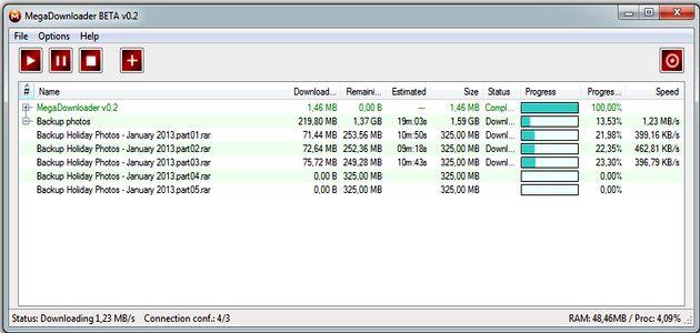 MegaDownloader, gestor gratuito para múltiples descargas en MEGA