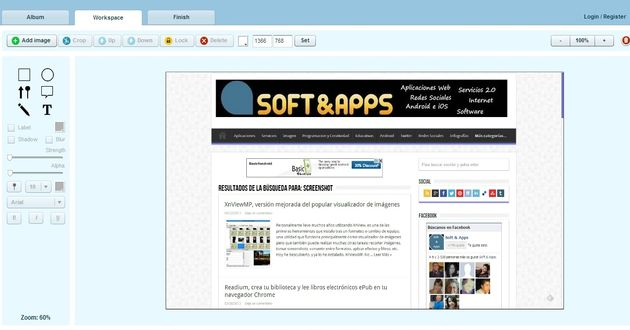 Pixtick, utilidad web para tomar screenshots y editarlos
