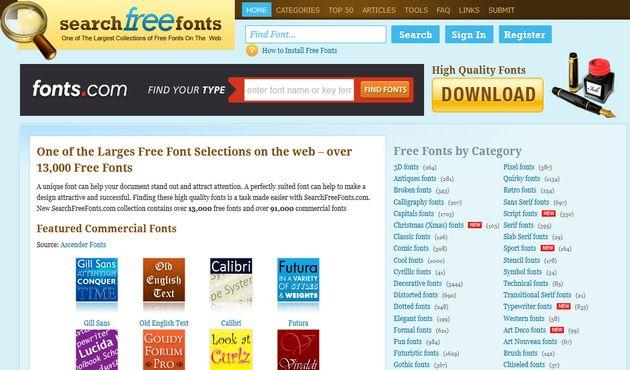 Search Free Fonts, un directorio que reúne alrededor de 13000 fuentes de texto gratuitas