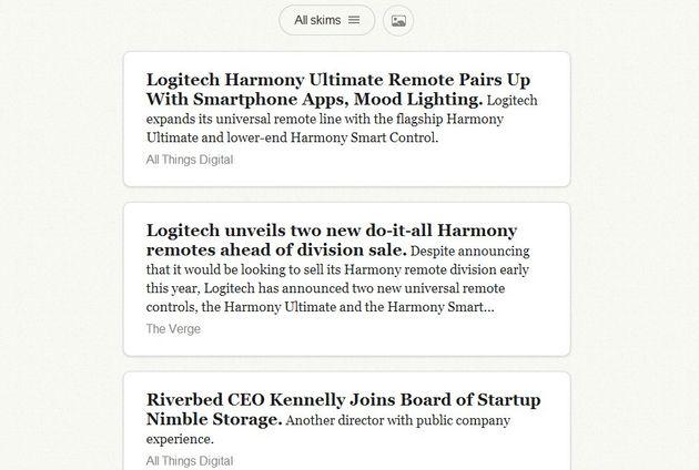 Skimr, un lector de feeds online que prima el minimalismo