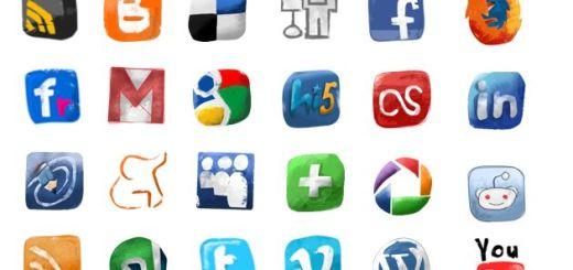 Social Icons hand drawned, completo pack de iconos sociales dibujados a mano
