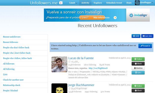Unfollowers: una web para la gestión de follows y unfollows en Twitter