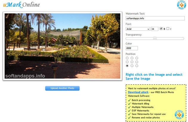 uMark Online uMark Online, añade marcas de agua a tus fotos con esta utilidad web
