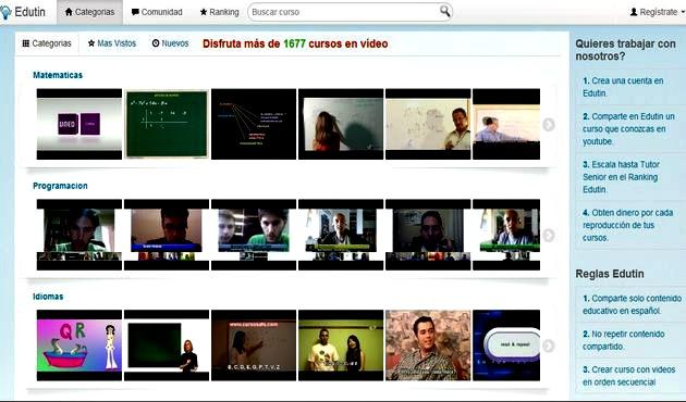 Edutin, cerca de 1700 vídeo cursos en español