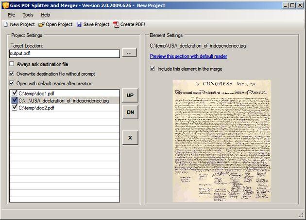 Gios PDF Splitter and Merger, une o divide documentos PDF
