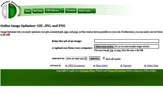Online Image Optimizer: comprime y optimiza imágenes PNG, JPG y GIF