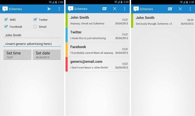 Schemes: programa sms, tweets, emails y posts de Facebook en Android