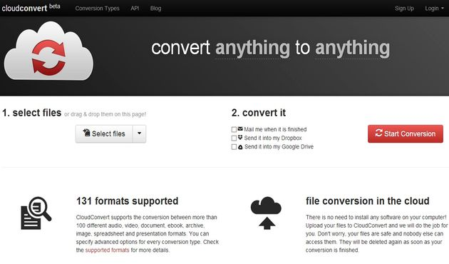 CloudConvert, convierte online entre más de 130 formatos de archivo