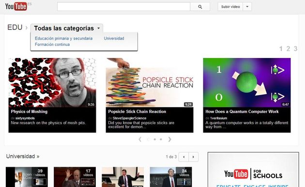 YouTube EDU, miles de vídeos educativos para formación y aprendizaje