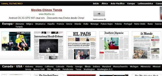 Kiosko, portadas de diarios de todos los países y continentes