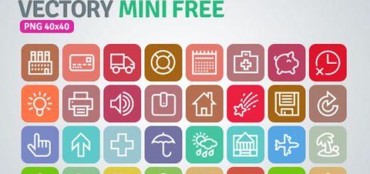 Vectory Mini Free, un pack gratuito con más de 1000 iconos variados