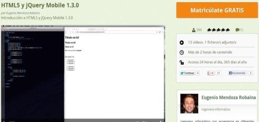 Un vídeo curso gratuito, y en español, de HTML5 y jQuery Mobile