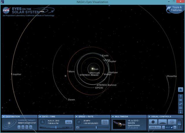 NASA's Eyes: software gratis para conocer la Tierra y el Sistema Solar