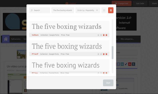 TypeWonder, prueba online diferentes fuentes de texto para tu sitio