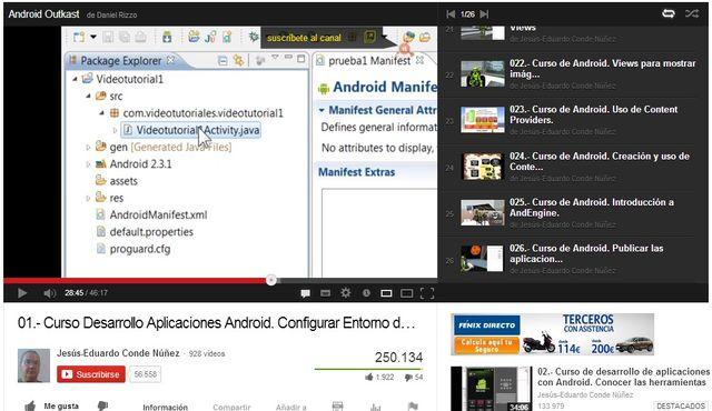 Curso gratuito de desarrollo de aplicaciones para Android en 26 vídeos