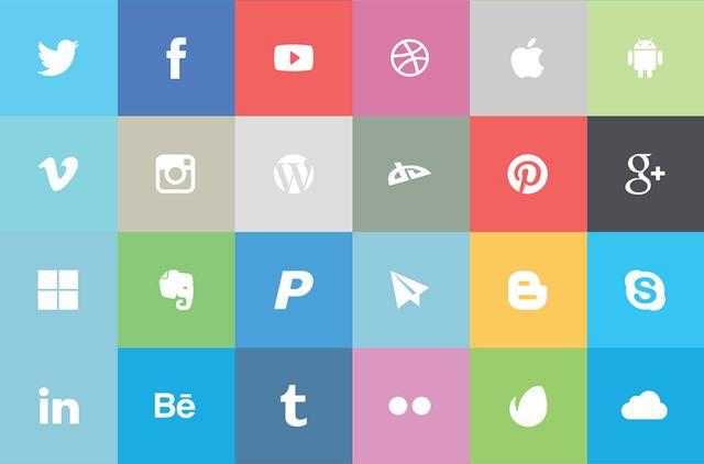 Flat Social Icon Set, un pack formado por 24 iconos sociales planos