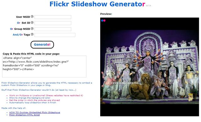 Flickr Slideshow Generator Flickr Slideshow Generator, presentaciones para tu blog con fotos de Flickr