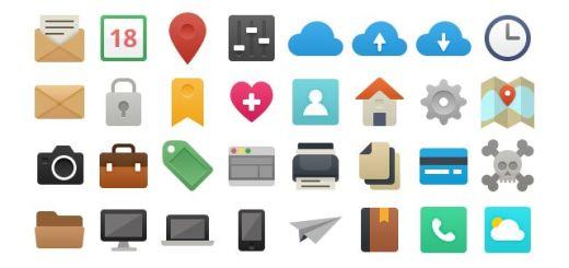 It's Flat!, set de 48 bellos iconos vectoriales libres de estilo plano
